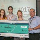 NowTecc הזוכים במקום הראשון. מימין לשמאל: פרופ' בועז גולני, טלי בונדר, טל יהב ואנסטסיה לוגביננקו |