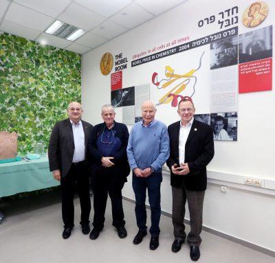 מימין לשמאל: פרופ' רפי ביאר, פרופ' אברהם הרשקו, פרופ' אהרון צ'חנובר ופרופ' פרץ לביא.